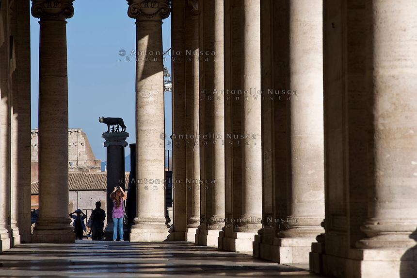 The Statue of female wolf feeding little children,that  is the Roman legend and symbol of the Rome. La statua della lupa simbolo di Roma al Campidoglio.