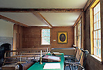 Interior of the Pownalborough Court House, built in 1761, the oldest court building in Maine, USA. John Adams practiced law here in the 1700's and later became the second president of the young nation of the United States of America.