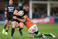 Tom Dunn of Bath Rugby takes on the Benetton Rugby defence. European Rugby Champions Cup match, between Bath Rugby and Benetton Rugby on October 14, 2017 at the Recreation Ground in Bath, England. Photo by: Patrick Khachfe / Onside Images