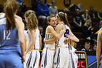 GRAND RAPIDS, MI - MARCH 18: Amherst College players embrace before the end of the Division III Women's Basketball Championship held at Van Noord Arena on March 18, 2017 in Grand Rapids, Michigan. Amherst defeated 52-29 for the national title. (Photo by Brady Kenniston/NCAA Photos via Getty Images)