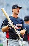 24 September 2010: Atlanta Braves catcher David Ross awaits his turn in the batting cage prior to facing the Washington Nationals at Nationals Park in Washington, DC. The Nationals defeated the Braves 8-3 to take the first game of their 3-game series. Mandatory Credit: Ed Wolfstein Photo