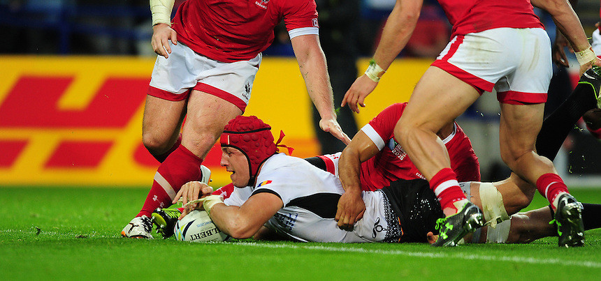 Romania's Mihai Macovei scores his sides second try<br /> <br /> Photographer Chris Vaughan/CameraSport<br /> <br /> Rugby Union - 2015 Rugby World Cup Pool D - Canada v Romania - Tue 6 October 2015 - King Power Stadium, Leicester <br /> <br /> &copy; CameraSport - 43 Linden Ave. Countesthorpe. Leicester. England. LE8 5PG - Tel: +44 (0) 116 277 4147 - admin@camerasport.com - www.camerasport.com