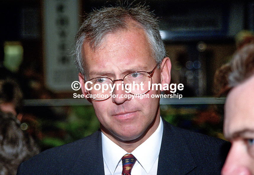 Peter Davis, Croydon South, UK, Conservative Party, activist, 199810210.<br /> <br /> Copyright Image from Victor Patterson,<br /> 54 Dorchester Park, <br /> Belfast, UK, BT9 <br /> <br /> t1: +44 28 9066 1296 (from Rep of Ireland 048 90661296)<br /> t2: +44 28 9002 2446 (from Rep of Ireland 048 9002 2446)<br /> <br /> m: +44 7802 353836<br /> <br /> e: victorpatterson@me.com<br /> www.victorpatterson.com<br /> <br /> Please see my Terms and Conditions of Use at www.victorpatterson.com. It is IMPORTANT that you familiarise yourself with them.<br /> <br /> Images used on the Internet must be visibly watermarked i.e. &copy; Victor Patterson<br /> within the body of the image and copyright metadata must not be deleted. Images <br /> used on the Internet have a size restriction of 4kbs and will be chargeable at current<br />  NUJ rates unless agreed otherwise.<br /> <br /> This image is only available for the use of the download recipient i.e. television station, newspaper, magazine, book publisher, etc, and must not be passed on to any third <br /> party. It is also downloaded on condition that each and every usage is notified within 7 days to victorpatterson@me.com<br /> <br /> The right of Victor Patterson to be identified as the author is asserted in accordance with The Copyright Designs And Patents Act (1988). All moral rights are asserted.