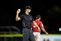 Umpire Steve Craze during a Pioneer League game between the Grand Junction Rockies and Billings Mustangs at Dehler Park on August 15, 2019 in Billings, Montana. Billings defeated Grand Junction 11-2. (Zachary Lucy/Four Seam Images)