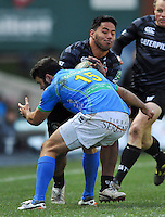 Manu Tuilagi runs into Luke McLean. Heineken Cup match, between Leicester Tigers and Treviso on December 9, 2012 at Welford Road in Leicester, England. Photo by: Patrick Khachfe / Onside Images