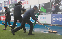 9nd February 2020; Energia Park, Dublin, Leinster, Ireland; International Womens Rugby, Six Nations, Ireland versus Wales; due to hail and heavy rain, the IRFU staff have to brush the water from the pitch
