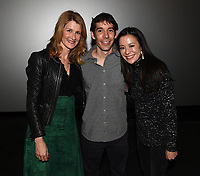"""Los Angeles - JANUARY 8: Laura Dern, Alex Honnold and director Elizabeth Chai Vasarhelyi  attend an IMAX screening of National Geographic's """"Free Solo"""" at the AMC Century City 15 on January 8, 2019 in Los Angeles, California. (Photo by Frank Micelotta/National Geographic/PictureGroup)"""