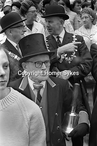 Great Torrington Devon UK. Mayfair.  Torrington Devon UK. May Fair. 1970 which is believed to have been going on since 1554. It takes place on th first Thursday in May. Town Cryier Cryer with bell.