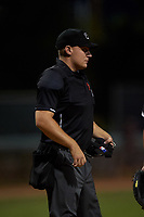 Home plate umpire Luke Morris during an Arizona League game between the AZL Indians Blue and AZL White Sox on July 2, 2019 at Camelback Ranch in Glendale, Arizona. The AZL Indians Blue defeated the AZL White Sox 10-8. (Zachary Lucy/Four Seam Images)