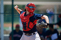 GCL Red Sox catcher Jacob Herbert (12) throws down to second base during a Gulf Coast League game against the GCL Pirates on August 1, 2019 at Pirate City in Bradenton, Florida.  GCL Red Sox defeated the GCL Pirates 11-3.  (Mike Janes/Four Seam Images)