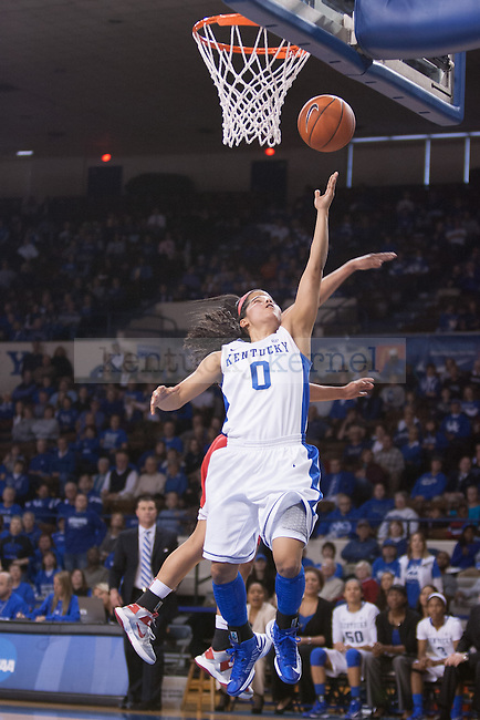 UK sophomore point guard Jennifer O'Neill making a layup during the second half of the UK vs. Marist basketball game at Memorial Coliseum on Sunday, Dec. 30, 2012. Photo by Adam Chaffins   Staff