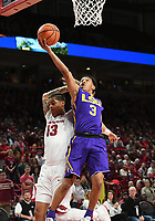 NWA Democrat-Gazette/J.T. WAMPLER Arkansas' Dustin Thomas gets called for a foul as Louisiana State's Tremont Waters takes a shot Wednesday Jan. 10, 2018 at Bud Walton Arena in Fayetteville.