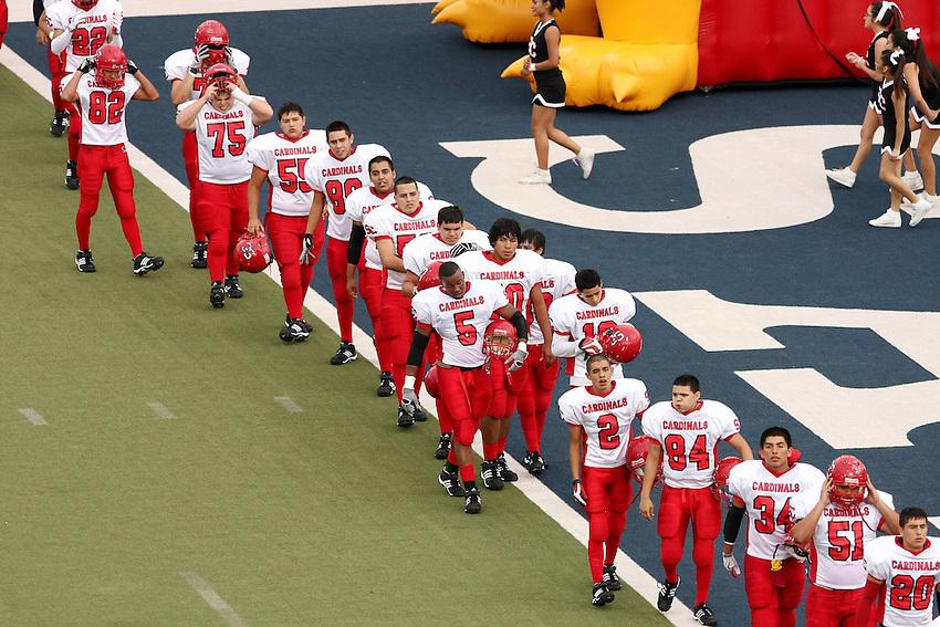 The Southside High School Cardinals play the Jefferson High School Mustangs, Saturday, Sept. 12, 2009, at SAISD Alamo Stadium in San Antonio, Texas. (Darren Abate/pressphotointl.com)