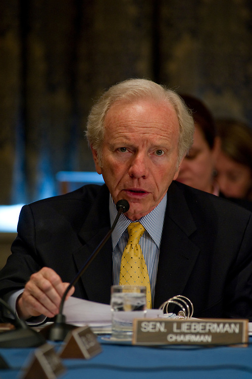 "WASHINGTON, DC - June 24: Chairman Joseph I. Lieberman, I-Conn., during the Senate Homeland Security and Governmental Affairs markup of S 3480, the ""Protecting Cyberspace as a National Asset Act of 2010,"" and other legislation. (Photo by Scott J. Ferrell/Congressional Quarterly)"