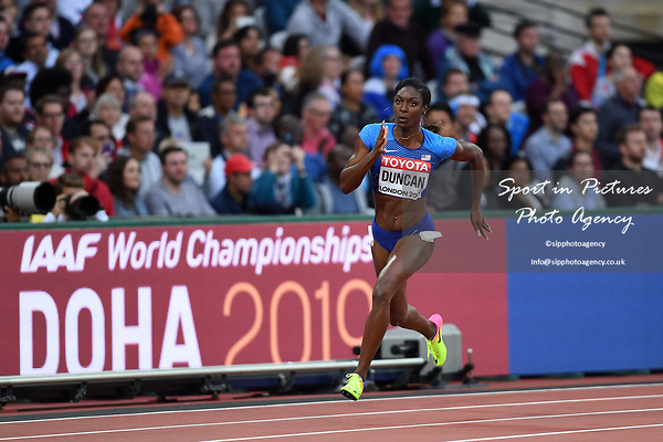 Kimberlyn DUNCAN (USA) in the womens 200m heats. IAAF world athletics championships. London Olympic stadium. Queen Elizabeth Olympic park. Stratford. London. UK. 08/08/2017. ~ MANDATORY CREDIT Garry Bowden/SIPPA - NO UNAUTHORISED USE - +44 7837 394578