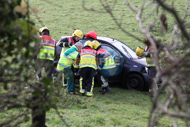 Two units of Drogheda Fire service attended the scene of a single car accident at Drybridge, The driver of the car skidded on ice crashing through the ditch and down an embankement, the Driver was removed by Ambulance to Our Lady of Lourdes Hospital in Drogheda..Photo: Fran Caffrey/www.newsfile.ie...