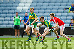Diarmuid O'Connor Kerry in action against Nicky Browne Louth in the All Ireland Minor Football Quarter Finals at O'Moore Park, Portlaoise on Saturday.