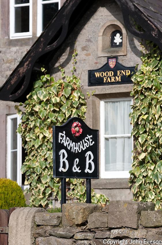 Farmhouse bed and breakfast sign, Dunsop Bridge, Wood End Farm.