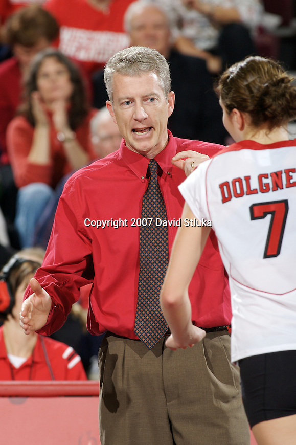 MADISON, WI - NOVEMBER 17: Head coach Pete Waite of the Wisconsin Badgers volleyball team looks on against the Iowa Hawkeyes on November 17, 2006 in Madison, Wisconsin. (Photo by David Stluka)