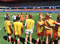 20190629 - VALENCIENNES , FRANCE : last team building of the Dutch team pictured before the female soccer game between Italy  - Squadra Azzurrine - and The Netherlands  – Oranje Leeuwinnen - , a knock out game in the quarter finals of the FIFA Women's  World Championship in France 2019, Saturday 29 th June 2019 at the Stade du Hainaut Stadium in Valenciennes , France .  PHOTO SPORTPIX.BE | DIRK VUYLSTEKE