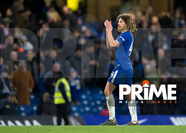 Ethan Ampadu of Chelsea applauds the fans during the FA Cup 5th round match between Chelsea and Hull City at Stamford Bridge, London, England on 16 February 2018. Photo by Vince  Mignott / PRiME Media Images.