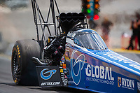 Jul 10, 2020; Clermont, Indiana, USA; NHRA top fuel driver Tony Schumacher during testing for the Lucas Oil Nationals at Lucas Oil Raceway. This will be the first race back for NHRA since the COVID-19 pandemic. Mandatory Credit: Mark J. Rebilas-USA TODAY Sports