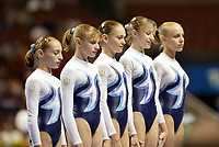 Team Ukraine lines up at 2003 World Championships Artistic Gymnastics on August 8th, 2003 at Anaheim, California, USA.