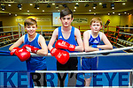 Tralee Boxing Club Kate Taylor v Queen Underwood fight in the Brandon Hotel on Saturday were Dylan Flavey, Jordan Doggin and Conor Murphy