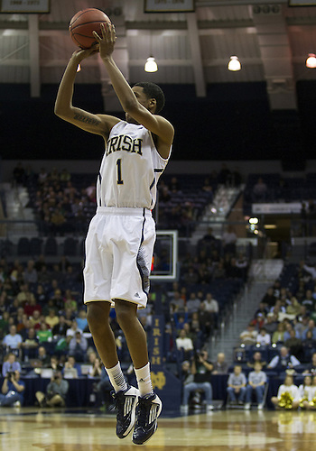 December 08, 2012:  Notre Dame forward Cameron Biedscheid (1) goes up for a shot during NCAA Basketball game action between the Notre Dame Fighting Irish and the Brown Bears at Purcell Pavilion at the Joyce Center in South Bend, Indiana.  Notre Dame defeated Brown 84-57.
