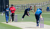 Cricket Scotland - Scotland V Sri Lanka at Kent County cricket ground at Benkenham, in the first of two matches this week, on Sunday (today) and Tuesday - picture shows Stuart Whittingham bowling to take the wicket of Mendis, one of his 3 wicket haul on his International debut - picture by Donald MacLeod - 21.05.2017 - 07702 319 738 - clanmacleod@btinternet.com - www.donald-macleod.com