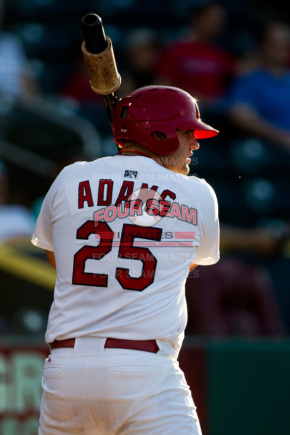 Matt Adams (25) of the Springfield Cardinals on deck during a game against the Tulsa Drillers at Hammons Field on July 18, 2011 in Springfield, Missouri. Tulsa defeated Springfield 13-8. (David Welker / Four Seam Images)