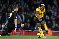 Adama Traore of Wolves is denied by Bernd Leno of Arsenal during Arsenal vs Wolverhampton Wanderers, Premier League Football at the Emirates Stadium on 11th November 2018