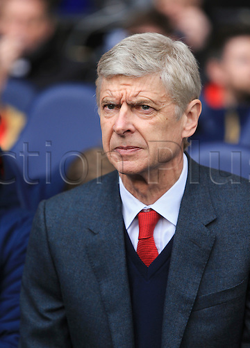 05.03.2016. White Hart Lane, London, England. Barclays Premier League. Tottenham Hotspur versus Arsenal. Arsene Wenger, the Arsenal manager takes his seat before the game.