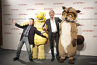 """LUCA WARD & PUPO.attend a photocall to promote the movie """"La Gand De Bosco"""" on the eighth day of Rome Film Festival (Festa Internazionale di Roma) in Rome, Italy, October 20th 2006..full length funny animals characters costumes.Ref: CAV.www.capitalpictures.com.sales@capitalpictures.com.©Luca Cavallari/Capital Pictures."""