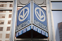 A Montreal metro and RESO sign is pictured in downtown Montreal Friday October 26, 2012. The Montreal Metro is a rubber-tired metro system and incorporates 68 stations on four lines measuring 65.33 km (40.59 mi) in length.