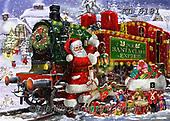 Interlitho-Franco, CHRISTMAS SANTA, SNOWMAN, WEIHNACHTSMÄNNER, SCHNEEMÄNNER, PAPÁ NOEL, MUÑECOS DE NIEVE, paintings+++++,santa train,KL6181,#x# ,puzzle,puzzles