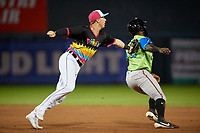 Erie Piñatas second baseman Kody Clemens (8) tags Jacob Heyward (13) out during an Eastern League game against the Las Ardillas Voladoras de Richmond on August 28, 2019 at UPMC Park in Erie, Pennsylvania.  Richmond defeated Erie 4-3 in the second game of a doubleheader.  (Mike Janes/Four Seam Images)