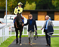 Winner of The PKF Francis Clark EBF Novice Stakes       Ace Ventura ridden by Andrea Atzeni and trained by Roger Varian is led into the winners enclosure  during Afternoon Racing at Salisbury Racecourse on 4th October 2017