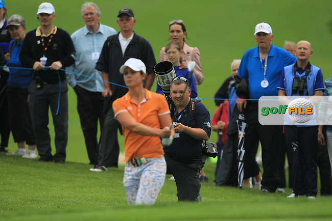 Maria Dunne on the 18th during the Saturday Mourning Fourbsomes of the 2016 Curtis Cup at Dun Laoghaire Golf Club on Saturday 11th June 2016.<br /> Picture:  Golffile | Thos Caffrey