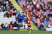 Nicky Law of Bradford City fouls Mark Byrne of Gillingham during the Sky Bet League 1 match between Bradford City and Gillingham at the Northern Commercial Stadium, Bradford, England on 24 March 2018. Photo by Thomas Gadd.