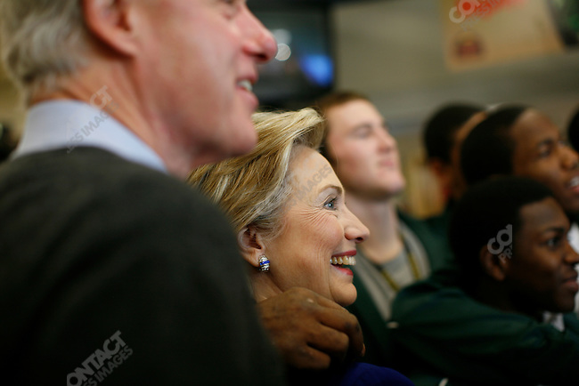 Senator Hillary Clinton, with former President Bill Clinton at the Hy Vee grocery cafeteria in Des Moines, Iowa, Tuesday December 18, 2007