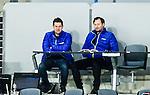Stockholm 2015-03-14 Bandy Bronsmatch Hammarby IF - Villa Lidk&ouml;ping BK :  <br /> SVT:s programledare Peter Ahnberg och bandyexpert expert Jonas Holgersson p&aring; pressl&auml;ktaren under matchen mellan Hammarby IF och Villa Lidk&ouml;ping BK <br /> (Foto: Kenta J&ouml;nsson) Nyckelord:  Tele2 Arena SM Brons Bronsmatch Tredjepris herr herrar Hammarby HIF Bajen Villa Lidk&ouml;ping VLBK TV Tv-k&auml;ndis k&auml;ndis