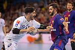 VELUX EHF 2017/18 EHF Men's Champions League Last 16.<br /> FC Barcelona Lassa vs Montpellier HB: 30-28.<br /> Benjamin Afgour vs Raul Entrerrios.