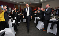 Pictured: Manager Paul Clement is applauded on his way to the podum Wednesday 18 May 2017<br />Re: Swansea City FC, Player of the Year Awards at the Liberty Stadium, Wales, UK.