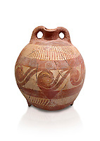 Minoan decorated clay flask  from the  Knossos-Temple Repositories 1650-1550 BC, Heraklion Archaeological  Museum.