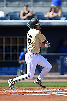 Vanderbilt Commodores infielder Penn Murfee (16) at bat during a game against the Indiana State Sycamores on February 21, 2015 at Charlotte Sports Park in Port Charlotte, Florida.  Indiana State defeated Vanderbilt 8-1.  (Mike Janes/Four Seam Images)
