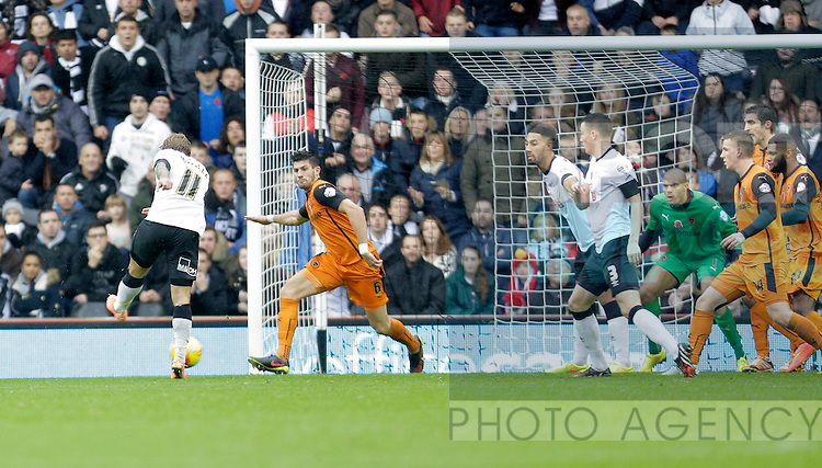 Johnny Russell scores the second goal of the game for Derby - Football - Sky Bet Championship - Derby County vs Wolverhampton Wanderers - iPro Stadium Derby - Season 2014/15 - 8th November 2014 - Photo Malcolm Couzens/Sportimage