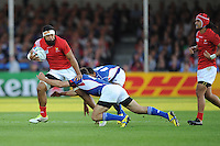 Viliami Ma'afu of Tonga is tackled by Danie Van Wyk of Namibia during Match 20 of the Rugby World Cup 2015 between Tonga and Namibia - 29/09/2015 - Sandy Park, Exeter<br /> Mandatory Credit: Rob Munro/Stewart Communications