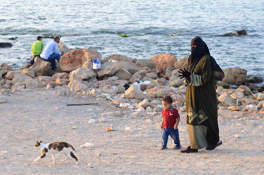 On the beach in Alexandria