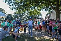 Jon Rahm (ESP) shakes hands with young fans as he approaches 17 during 3rd round of the World Golf Championships - Bridgestone Invitational, at the Firestone Country Club, Akron, Ohio. 8/4/2018.<br /> Picture: Golffile | Ken Murray<br /> <br /> <br /> All photo usage must carry mandatory copyright credit (© Golffile | Ken Murray)
